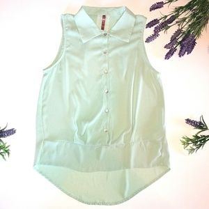 Anthropologie Mauve Mint Button Tank Top Small